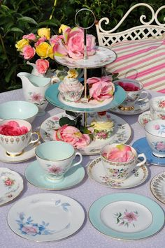 Tea party afternoon tea cake stand teacups