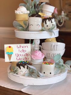 Your place to buy and sell all things handmade tiered tray aign tiered tray sign summer decor ice cream 3 Tier Stand, Tiered Stand, Plateau Style, Ice Cream Sign, Tray Styling, Icecream Bar, Tray Decor, Seasonal Decor, Creme
