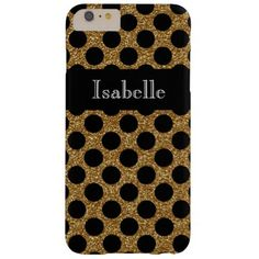#Gold Faux Glitter Black Dots Barely There iPhone 6 Plus Case - cyo customize design idea do it yourself diy