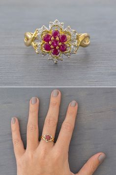 A vintage 1980s 14k two tone gold, red ruby flower ring, with diamonds, offered by MintAndMade.