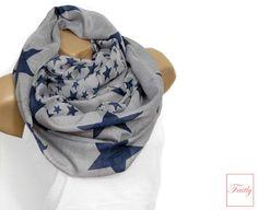 Loop+Schal+♥+hell+grau+blau+Sterne+blau+von+Faitly+auf+DaWanda.com