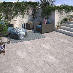 Carrelage sol gris effet pierre Monastere l.30 x L.30 cm