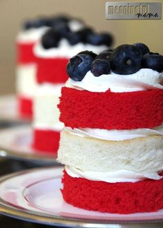 Fourth of July Stacked Mini Cakes Fourth of July Dessert Recipes