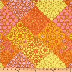 Kaffe Fassett Prints Collection Tile Flowers Gold