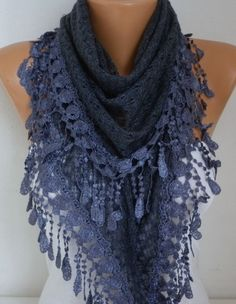 Knitted Scarf Shawl Cowl Lace Oversized Wrap Bridesmaid Gift