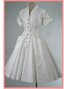 Vintage 1950s White Tea Length Full Skirt Shirtwaist Swing Dress via Blue Velvet Vintage. #white #swing #vintage