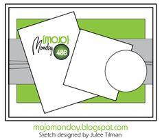 Mojo Monday 486 Card Sketch designed by Julee Tilman. Notebook Sketches, Scrapbook Sketches, Card Sketches, Scrapbook Pages, Scrapbooking Layouts, Iris Paper Folding, Scrapbook Patterns, Card Making Templates, Spellbinders Cards