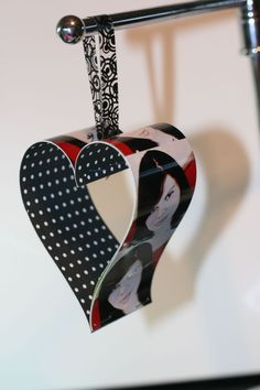 Paper and photo heart ornament