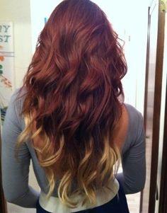 Auburn red to blonde ombre hair Ombré Hair, New Hair, Your Hair, Curly Hair, Red Blonde Ombre, Ombre Hair Color, Hair Colors, Blonde Hair, Colours