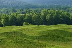 Wavefield, at the Storm King Art Center in Mountainville, New York, is a 2009 earthwork composed of seven undulating rows of earth and grass, ranging in height from 10 to 18 feet, at 40-feet intervals. Maya Lin considers the work the culmination of her explorations of water-wave formations.