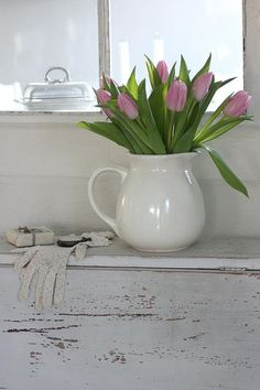 Pitcher of Pink tulips