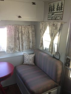 Vintage 1966 Oasis Travel Trailer. Red White And Gray. French Script  Curtains, Striped