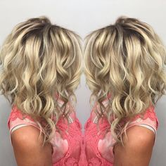 Best 12 Love the color and dark roots! Medium Hair Styles, Curly Hair Styles, Brown Blonde Hair, Hair Color And Cut, Hair Affair, Great Hair, Hair Highlights, Hair Today, Hair Dos