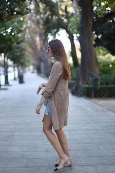 ed3d49a4485 Mango suede coat, Chanel shoes  amp  Céline bag  StreetStyle Slingback  Shoes, Wedge
