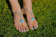 Blue and Gold Seashell Beach Wedding Barefoot Sandals Bridal Jewelry Anklet Toe Ring on Etsy, $24.00