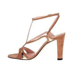 Stuart Weitzman Womens Tasty Leather Evening Sandals Brown 7.5 Medium (B,M). Leather. T-Strap. Metallic. Spain. The heel height is 4 inches and the color is Camel Rustic Nappa.