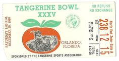 1980 Tangerine Bowl game Ticket Stub Florida Maryland....if you like this you can find many more college bowl game tickets for sale at.....www.everythingcollectibles.biz