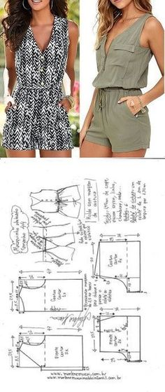 combishort (tutoriel gratuit - DIY combishort (tutoriel gratuit - DIY) - Jumpsuits and Romper Sewing Dress, Sewing Shorts, Dress Sewing Patterns, Diy Dress, Sewing Patterns Free, Sewing Clothes, Clothing Patterns, Crochet Clothes, Sewing Coat
