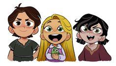 Little Eugene, Cassandra and Rapunzel Disney Rapunzel, Tangled Rapunzel, Disney Love, Disney Magic, Disney Pixar, Disney Characters, Eugene Tangled, Rapunzel And Eugene, Cassandra Tangled