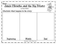 FREE Graphic organizer for retelling Jamie O'Rourke and the Big Potato. Perfect for St. Patrick's Day!