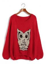 Hot OWL Knitwear Women Casual Crewneck Batwing Plus Size Jumper Pullover Sweater Plus Size Jumpers, Plus Size Sweaters, Cute Sweaters, Jumpers For Women, Sweaters For Women, Owl Sweater, Red Owl, Graphic Sweaters, Sammy Dress