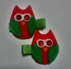 Set of Two Christmas Owl Alligator Hair by LittleMunkeyCreation
