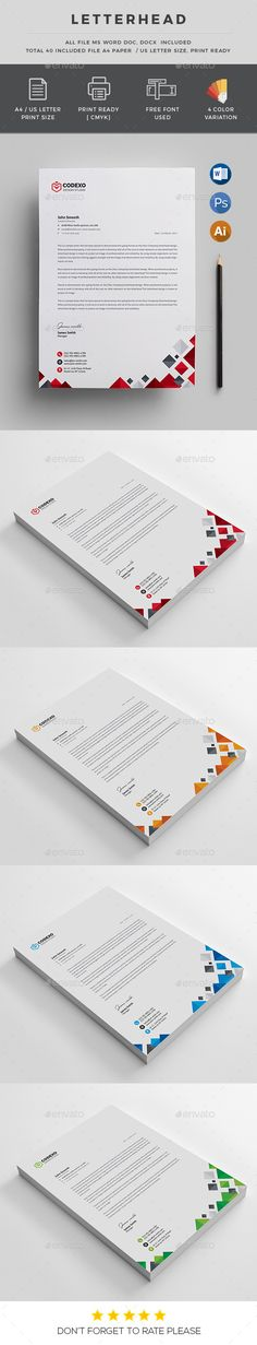 Buy Letterhead by generousart on GraphicRiver. File Information: / print dimension with Bleed + Trim Mark Photoshop PSD, Ai, EPS, DOC, DOCX Fil. Stationery Printing, Stationery Templates, Stationery Design, Print Templates, Brochure Design, Branding Design, Design Templates, Letterhead Template, Flyer Template