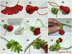 Material:   -Hilo de seda   -Alambre muy fino ( coceren los bordes de los pétalos y en el centro de las hojas para dar volumen)   -ga...
