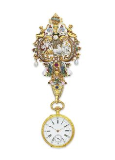 AN ANTIQUE MULTI-GEM AND ENAMEL PENDANT WATCH WITH CHATELAINE, BY BOUCHERON  circa 1875. | Christie's