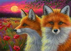ACEO original red fox summer moon flowers field wildlife landscape painting art | Art, Direct from the Artist, Paintings | eBay!