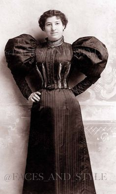 Portrait of a woman wearing a dress bodice inside out, possibly to show the stitching of the darts, ca. 1895.