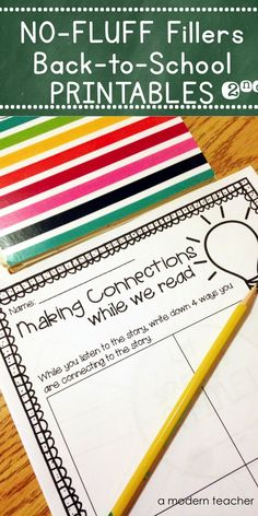 Printables for Back to School! Perfect for filling in those extra moments or challenging those kids who are looking for the next thing to do but don't have a lot of time, $ Includes reading, writing, and math from A Modern Teacher https://www.teacherspayteachers.com/Product/Back-to-School-No-Fluff-Fillers-2nd-Grade-2039702