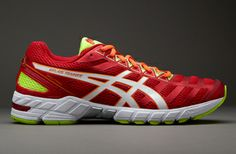 Asics Gel DS Trainer 18 - Mens Running Shoes - Red-Silver-Neon Yellow