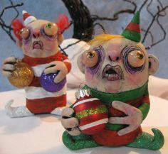 lowbrow art sculpture Christmas Holiday Elf ooak by mealymonster