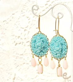 Two pretty floral cluster cabochons dangle so pretty together with vintage pink glass jewels and beads from a gold plated kidney earwire. MEMBER - Nesting Pretty