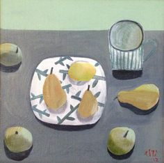 chinese pears on japenese plate, Este MacLeod still life Winifred Nicholson, Japanese Plates, Nicely Done, Still Life Oil Painting, Painting Collage, Fruit Art, Painting Inspiration, Life Inspiration, Food Illustrations