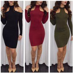 $21.50   Solid color sexy dew shoulder tight dress  7845109