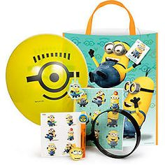 Yellow balloon and sharpie marker! Can make yourself for cheaper. Despicable Me Ultimate Kit (Each) - Party Favor Sets & other Party Supplies from Birthday in a Box Birthday Box, Birthday Parties, Birthday Ideas, I Party, Party Favors, My Minion, Minions, Despicable Me Party, Minion Costumes