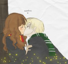 Harry Potter When He Said My Name *dramione Fan Fiction* - Hermione's heartbroken when she sees Ron and Lavander kissing. She stumbles into Draco Malfoy. Is he the good guy or the prat she has always known. Harry Potter Fan Art, Harry Potter Anime, Harry Potter Humor, Harry Potter Couples, Harry Potter Comics, Harry Potter Ships, Harry Potter Books, Harry Potter Halloween, Harry Potter Wattpad