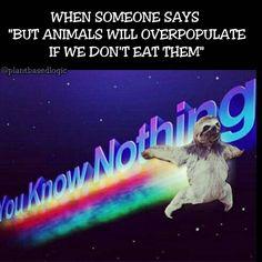 "When someone says ""but animlas will overpopulate if we don't eat them"" / vegan meme / vegan humor / vegan lifestyle"