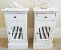 2 x SHABBY BEACH HOUSE CHIC BEDSIDE TABLES CHESTS IN WHITE ~ FRENCH RUSTIC