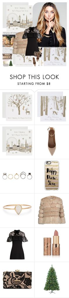 """""""Merry Christmas"""" by mars ❤ liked on Polyvore featuring Aquazzura, Iosselliani, Casetify, Catbird, AINEA, Max Factor, self-portrait, tarte and Love Moschino"""