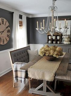 Awesome 70 Gorgeous Modern Farmhouse Dining Room Decor Ideas Https in Brilliant dining room design 2018 - Home Interior Design Farmhouse Dining Room Table, Dining Room Wall Decor, Dining Room Design, Dining Room Furniture, Dining Tables, Dining Sets, Small Dining, Gray Dining Rooms, Dining Room Clock