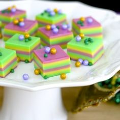 Show us your beads! Celebrate Fat Tuesday with Mardi Gras themed jelly shots.