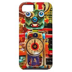recycled art | Robot Clock Recycled Art iPhone 5 Case