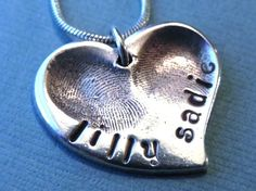 I want this with Jack's and Sadie's fingerprints.  Fingerprint Jewelry Two Child Fingerprints in Fine by LilyBuds