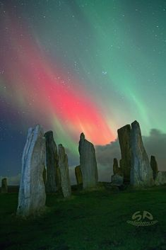 ~~Stones On Fire!! | Aurora over the ancient Callanish Standing Stones on the beautiful Isle of Lewis, Scotland by Sandie Maciver~~