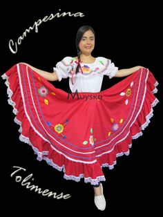 Traje Tipico Campesina Tolimense Muyska Colombian People, Colombian Girls, Different Races, Hair Designs, Traditional Dresses, Snow White, Mexico, Dress Up, Culture