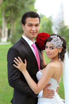 Dramatic asymmetrical crystal bridal headpiece