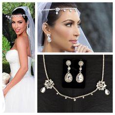 Kim Kardashian wedding headpiece earrings set tiara headband diamanté crystal diamond bride prom homecoming Gatsby wedding jewelry
